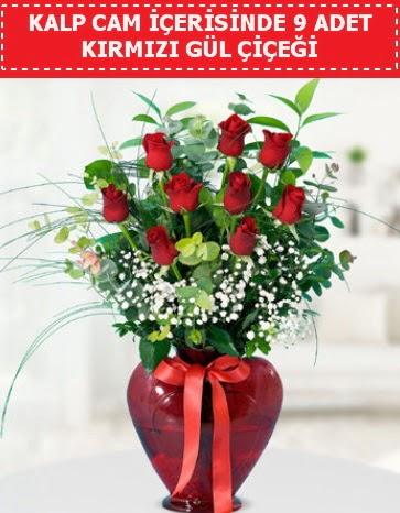 Kırmızı kalp camda 9 kırmızı gül Ankara Dikmen 14 şubat sevgililer günü çiçek