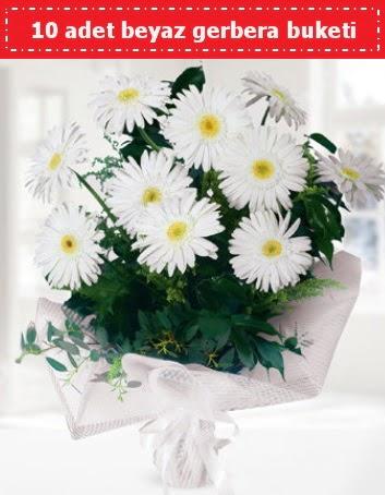 10 Adet beyaz gerbera buketi Öveçler Dikmen anneler günü çiçek yolla