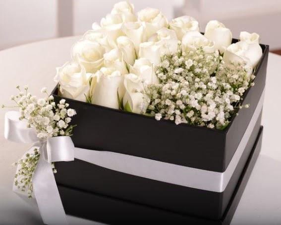 Kutu içerisinde 19 beyaz gül ve cipsofilya Öveçler Dikmen anneler günü çiçek yolla