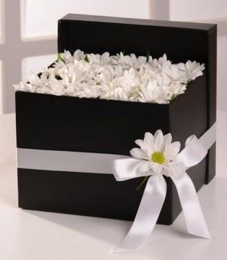 Kutuda beyaz krizantem papatya çiçekleri Dikmen ankara çiçek mağazası , çiçekçi adresleri