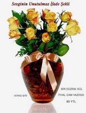 Ankara Dikmen kaliteli taze ve ucuz çiçekler  mika yada Cam vazoda 12 adet sari gül